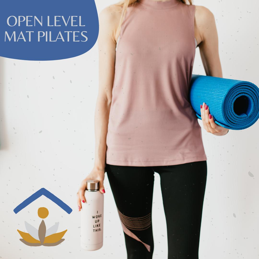 Open level MAT Pilates, girl holding a mat.